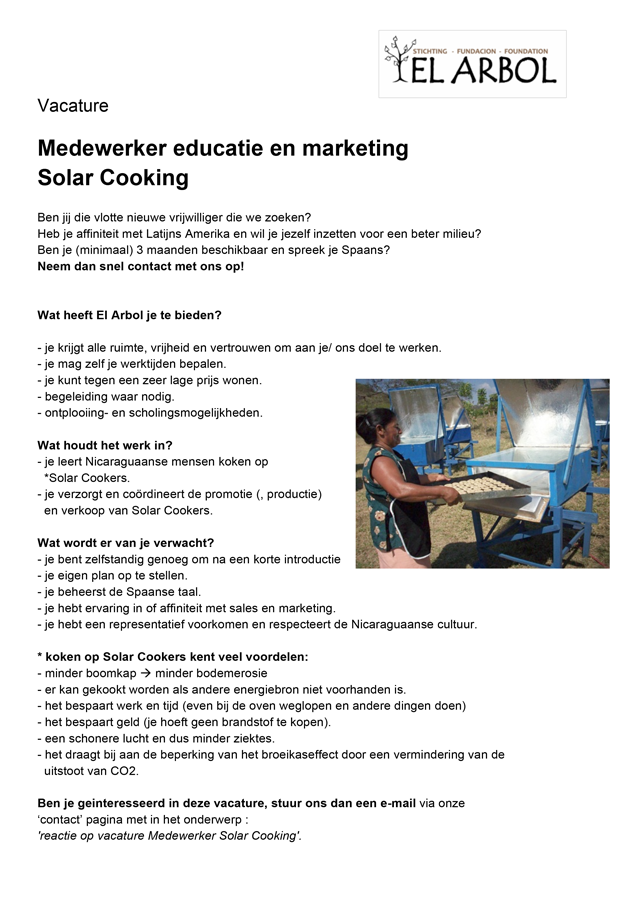 vacature solar cooking